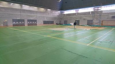 田辺中央体育館改修工事の様子